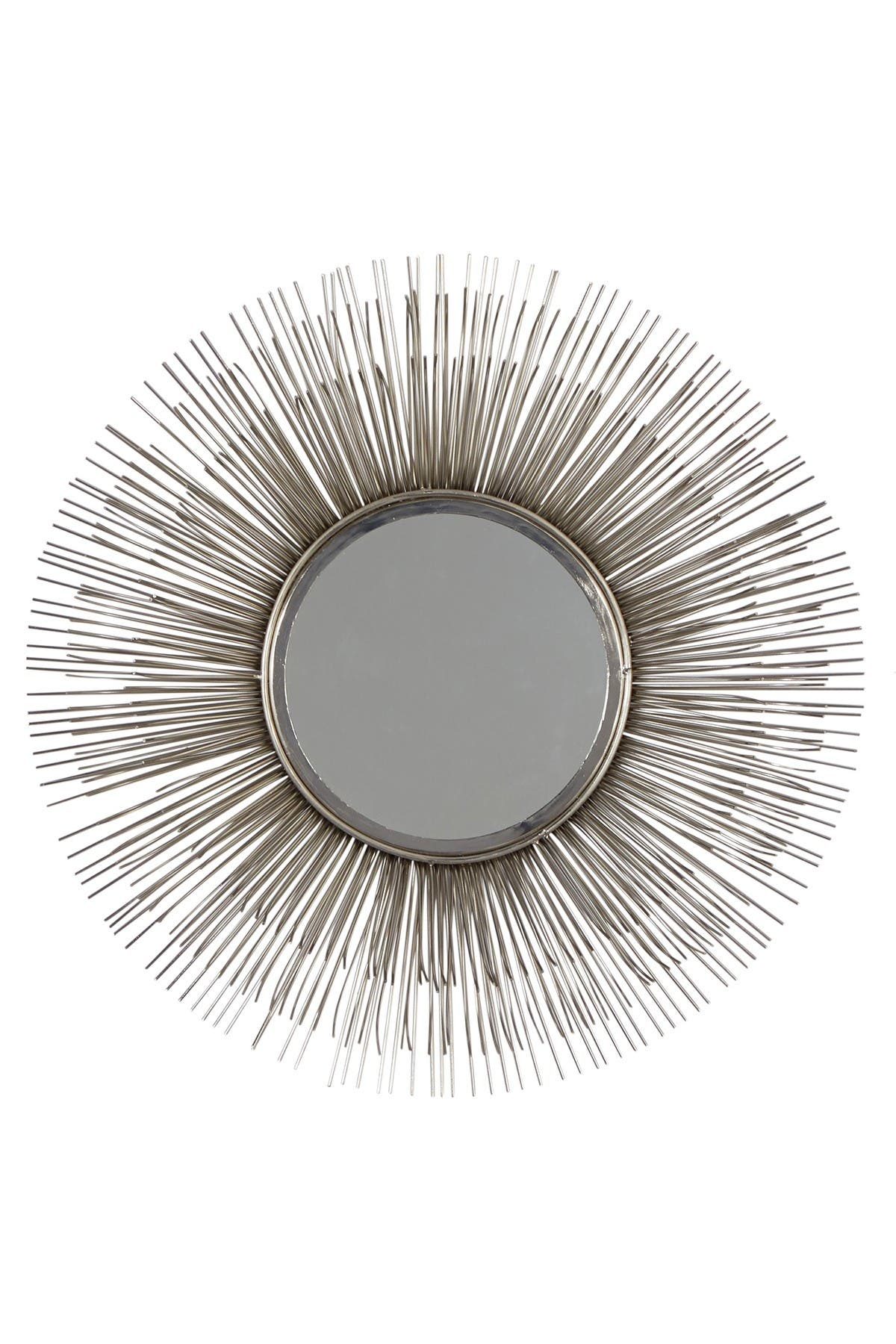 """Image of Willow Row Large Round Silver Metal Starburst Mirror Wall Decor - 28.5"""""""