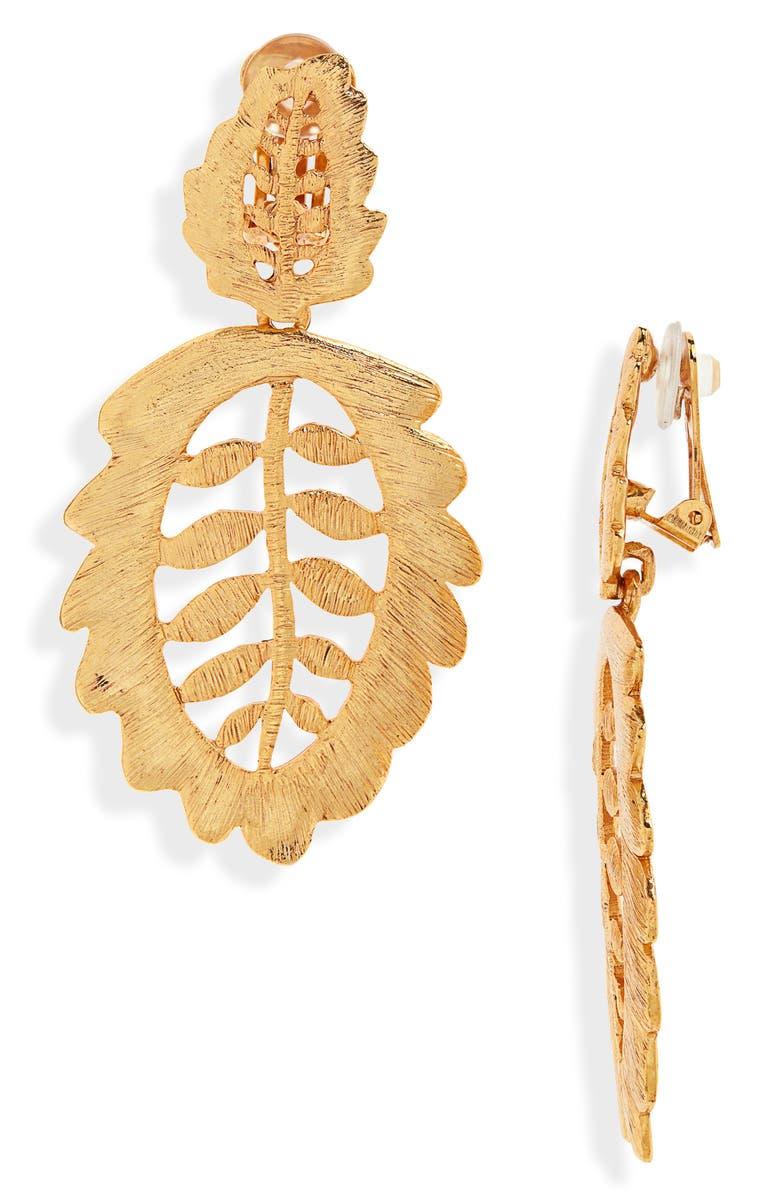 OSCAR DE LA RENTA Bischoff Lace Drop Clip Earrings, Main, color, GOLD