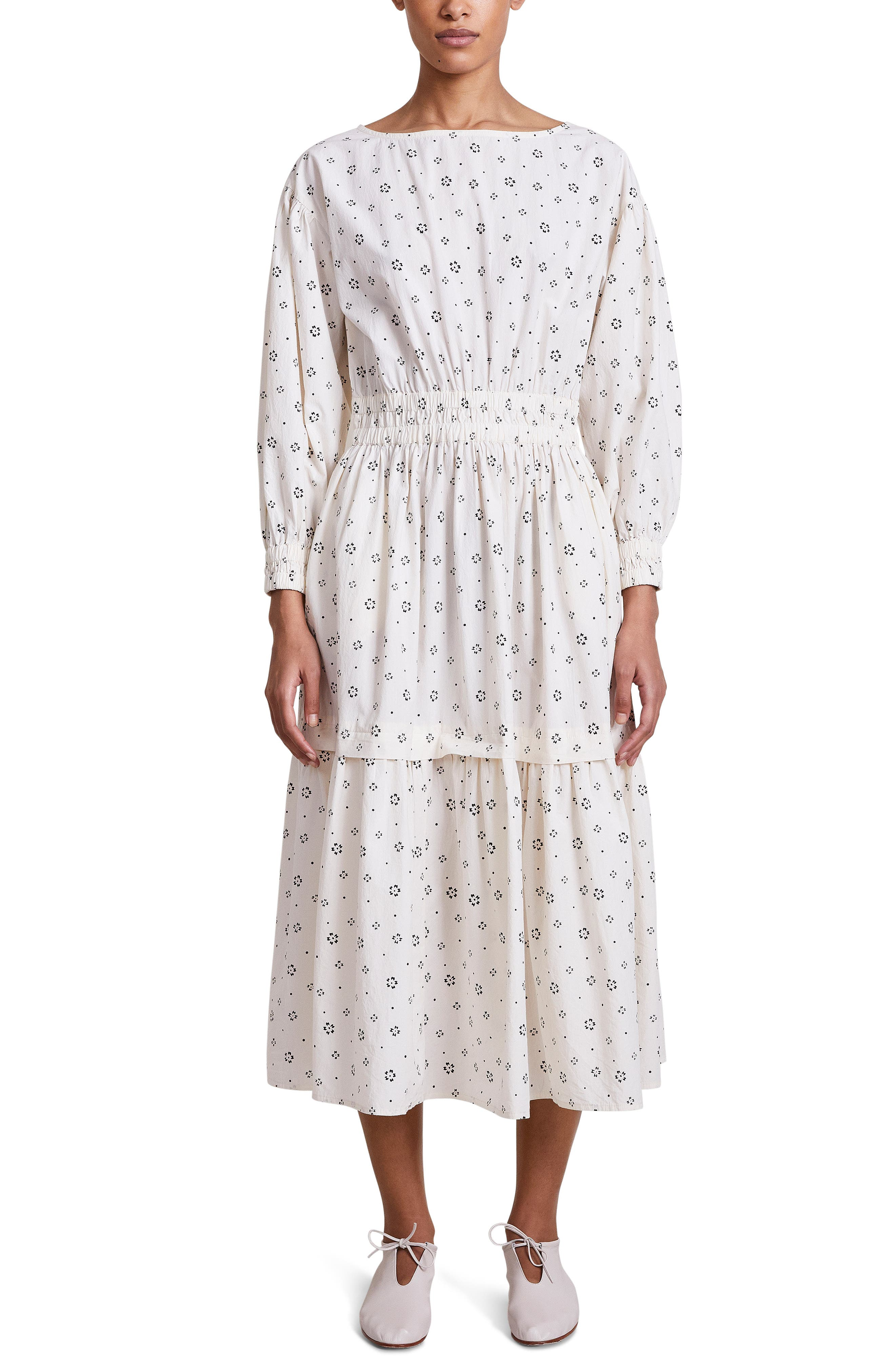 Estrella Floral Long Sleeve Tiered Organic Cotton Dress