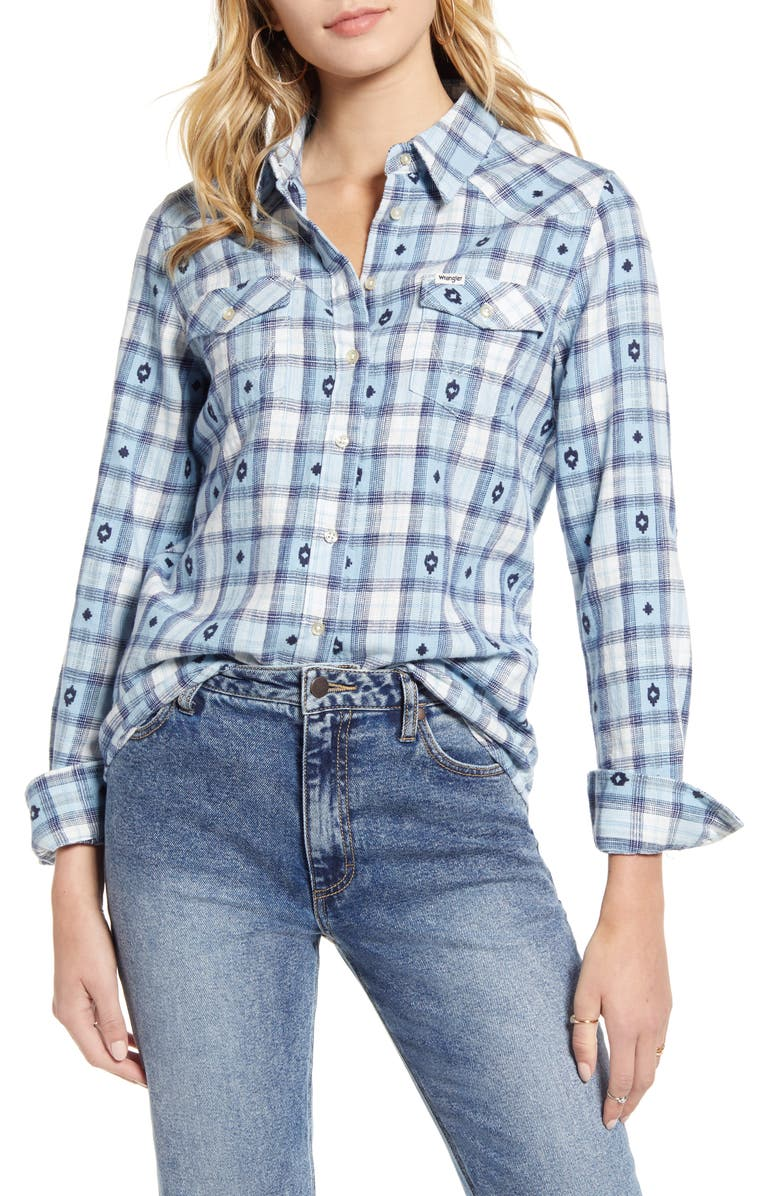 WRANGLER Embroidered Western Check Shirt, Main, color, ANGEL FALLS BLUE