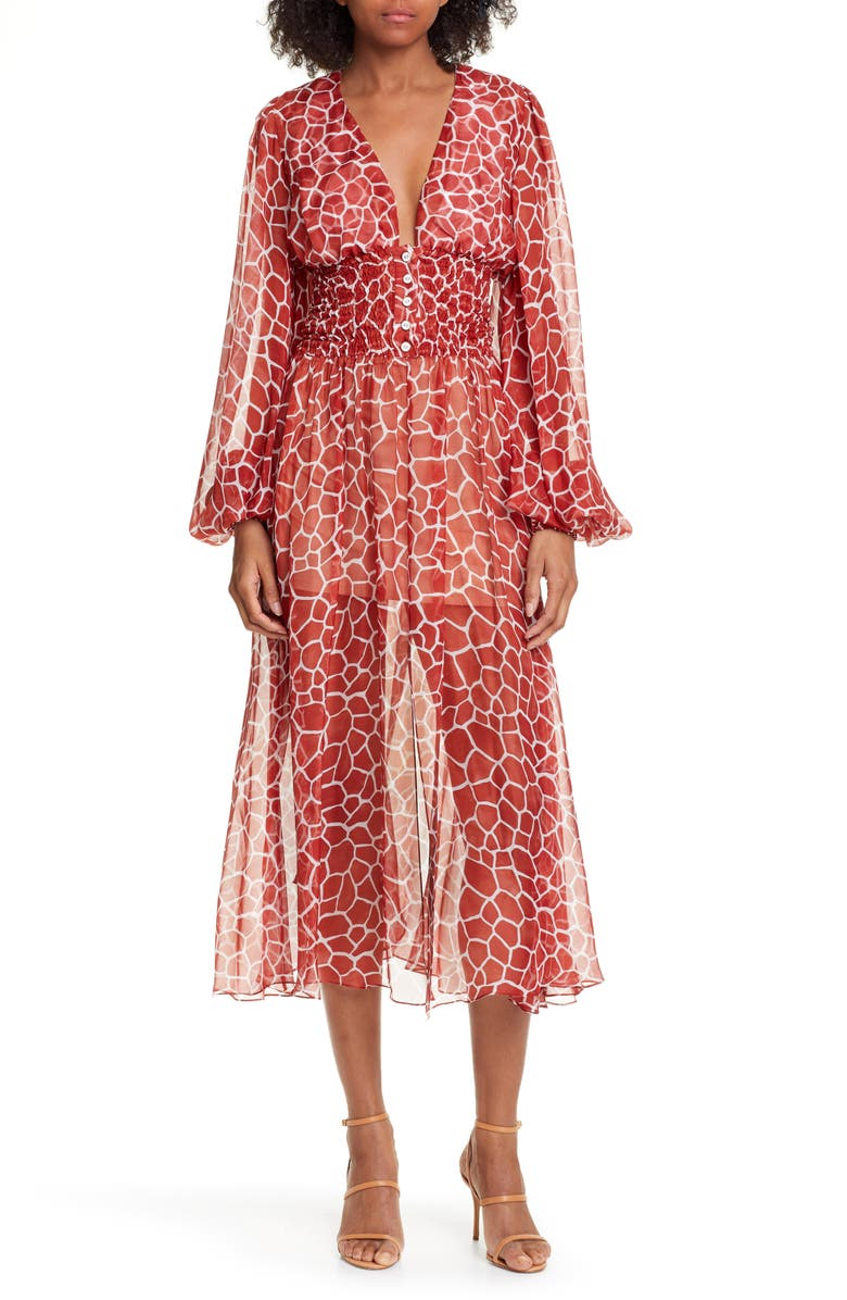 CAROLINE CONSTAS Syros Silk Dress, Main, color, SIENNA MULTI