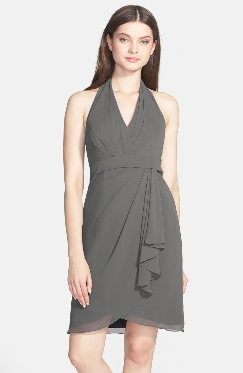 JENNY YOO Tatum Side Drape Chiffon Halter Dress, Main, color, 020
