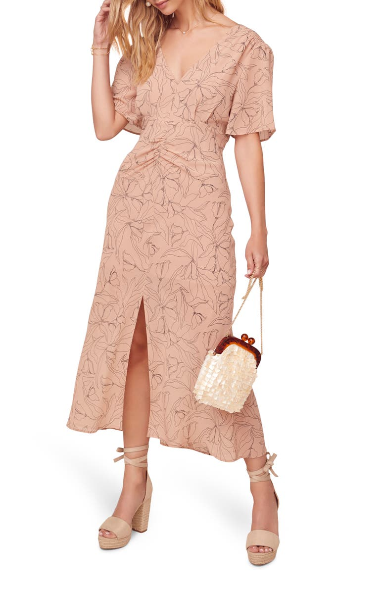 ASTR THE LABEL Kindred Printed Midi Dress, Main, color, APRICOT SKETCH FLORAL