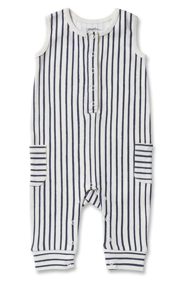 PEHR Stripes Away Organic Cotton Romper, Main, color, INK