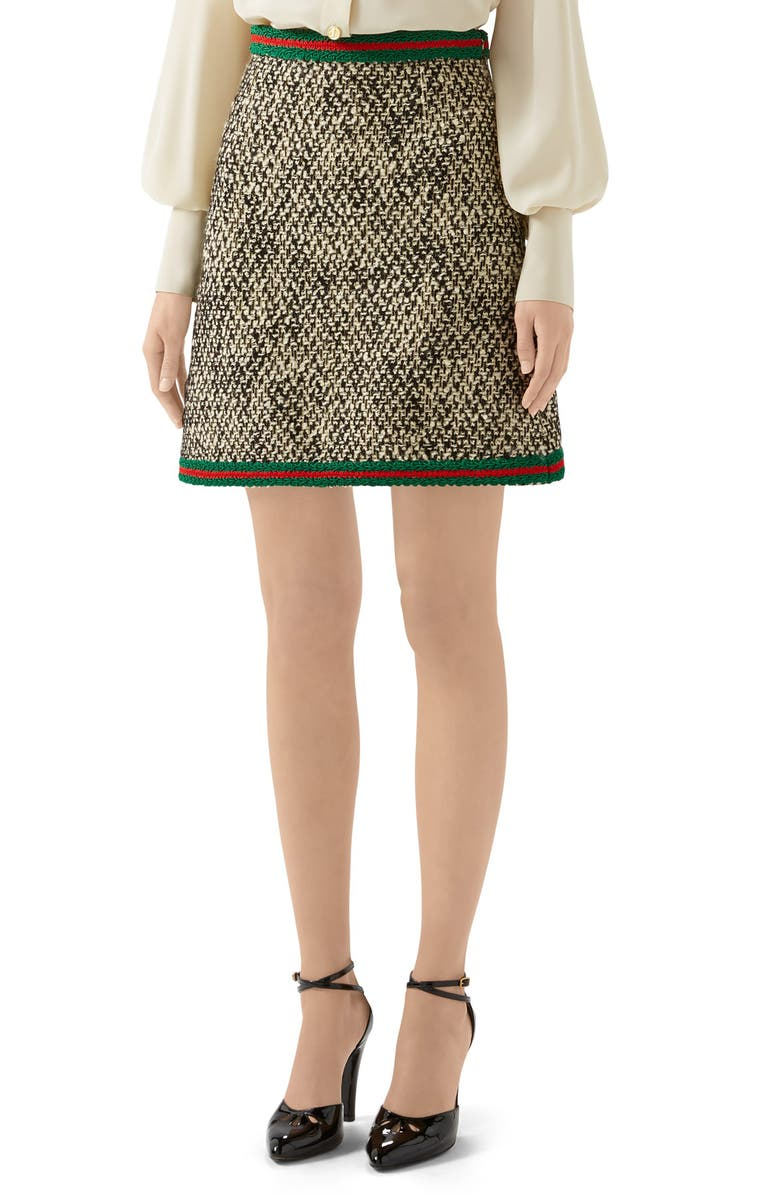 GUCCI Web Trim Wool Blend Tweed Miniskirt, Main, color, IVORY/ MIX