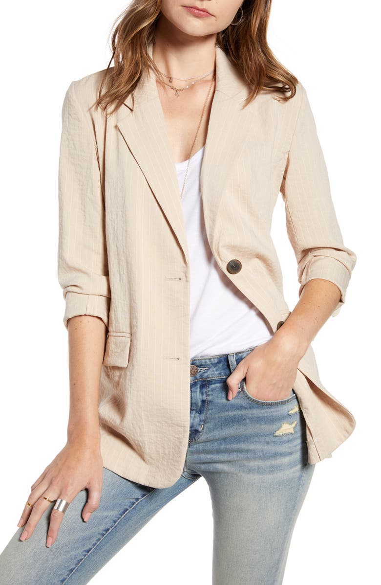 TREASURE & BOND Pinstripe Oversize Blazer, Main, color, TAN NOMAD