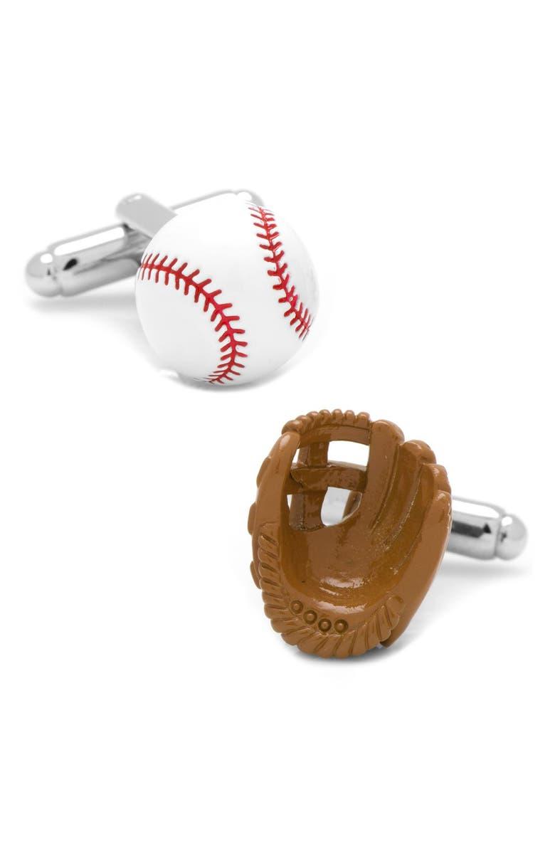CUFFLINKS, INC. Baseball & Glove Cuff Links, Main, color, WHITE MULTI