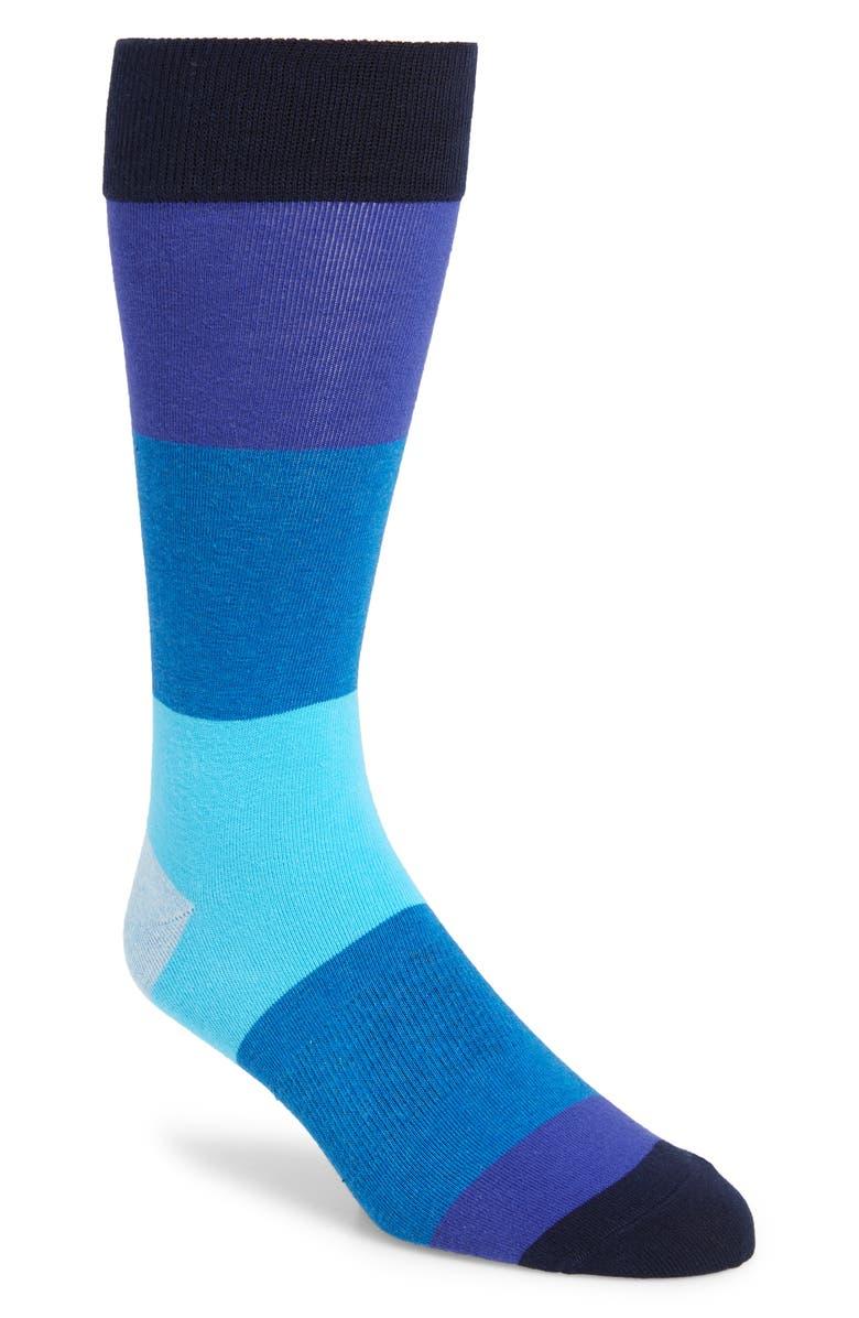 FUN SOCKS Colorblock Socks, Main, color, BLUE MULTI