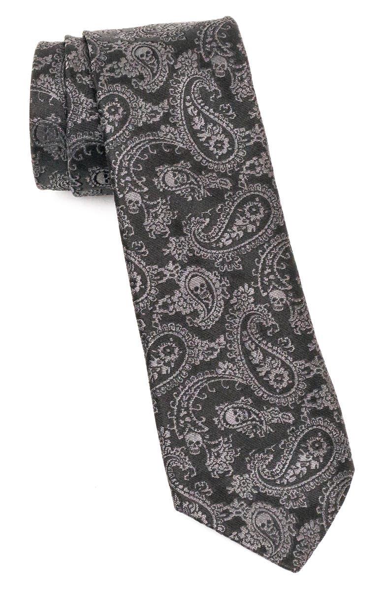 JOHN VARVATOS STAR USA Paisley Silk Tie, Main, color, BLACK