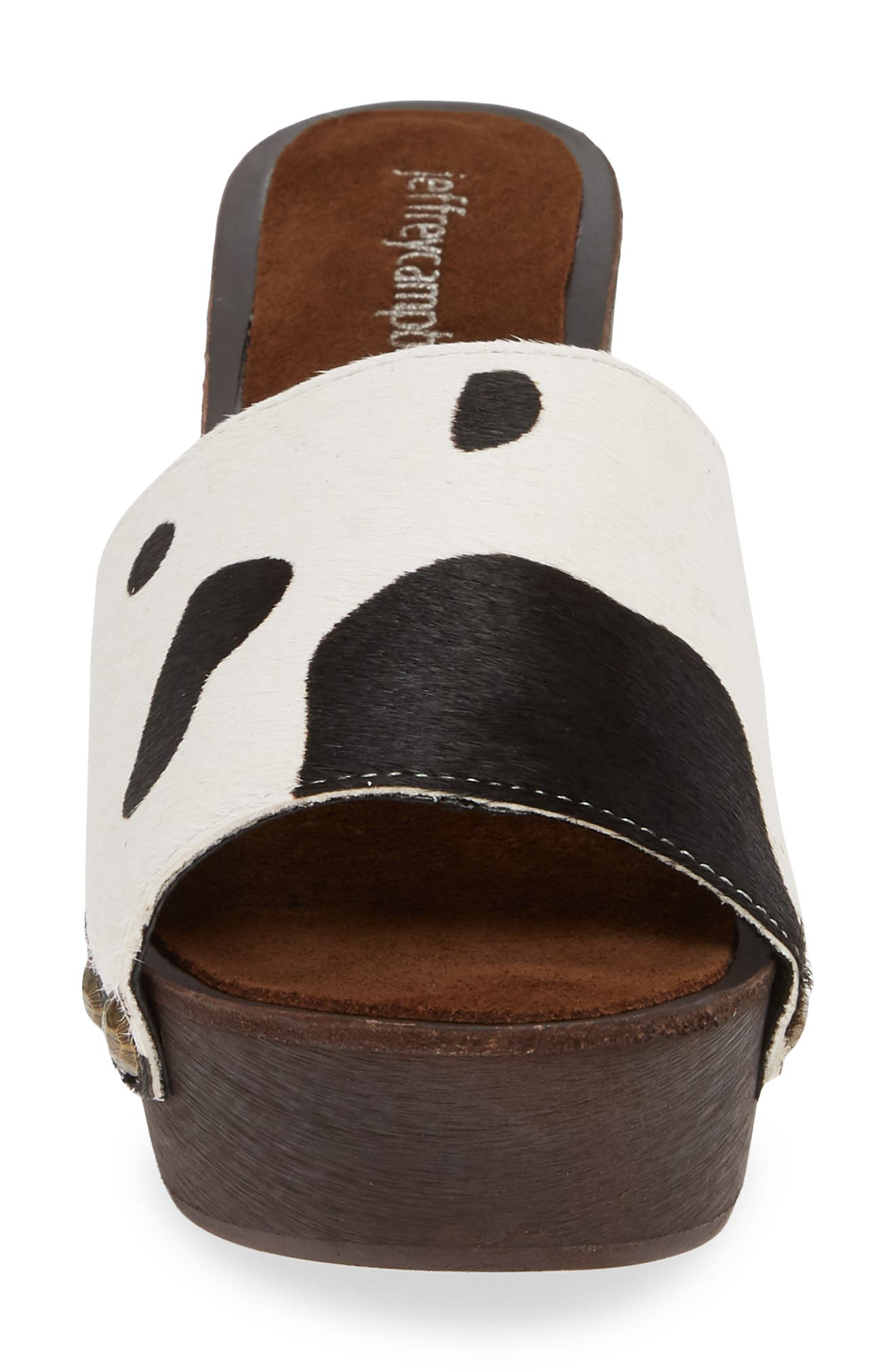 ,                             D-Light Genuine Calf Hair Platform Sandal,                             Alternate thumbnail 4, color,                             BLACK/ WHITE COW PRINT