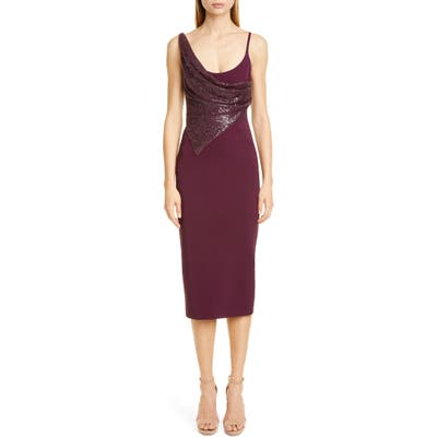 Cushnie Sequin Panel Midi Dress, Purple