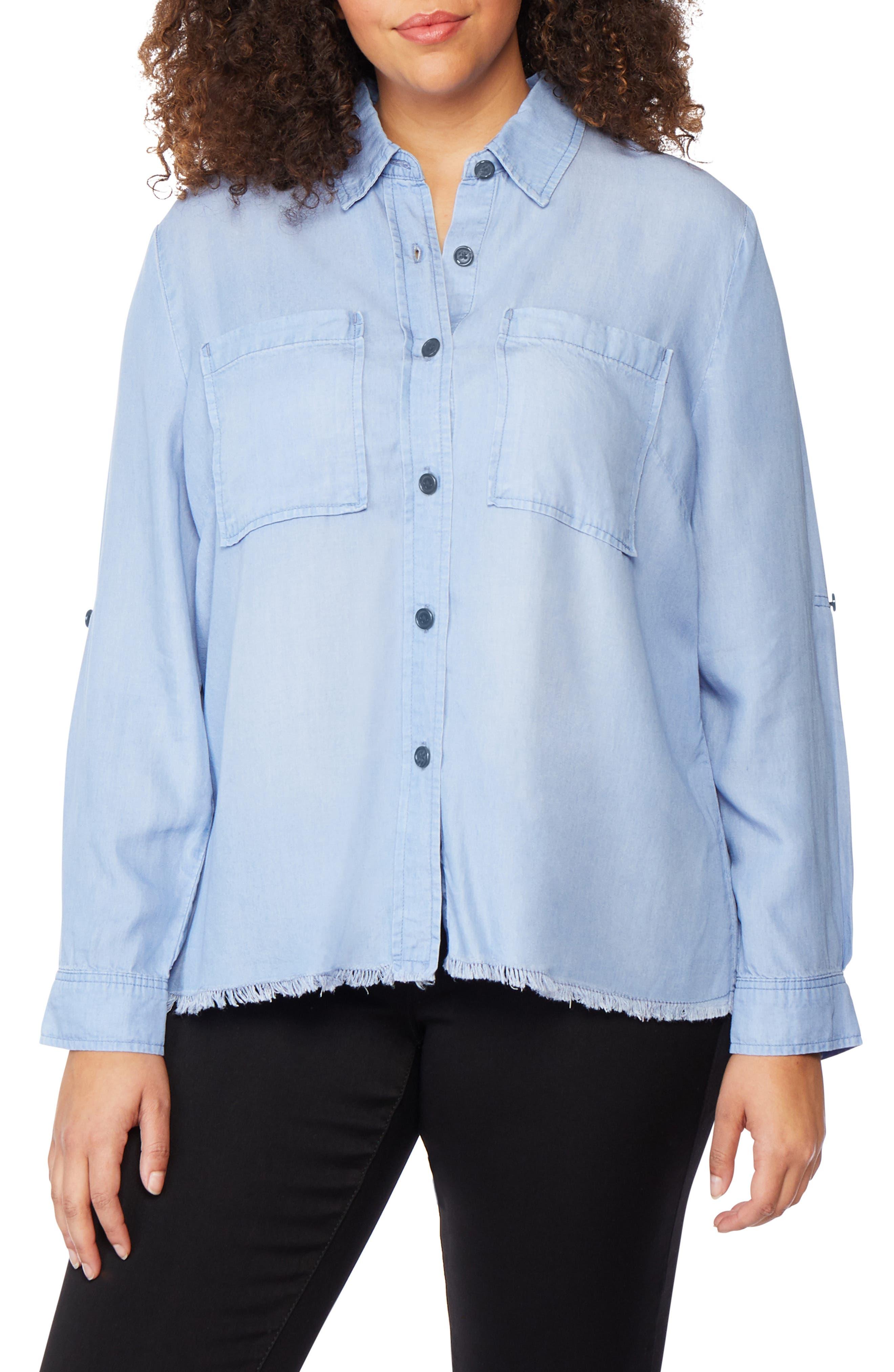 ,                             Frayed Hem Button Front Shirt,                             Alternate thumbnail 4, color,                             BAYSIDE