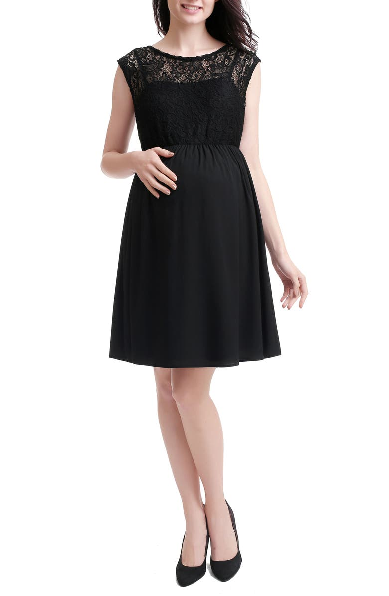 KIMI AND KAI Genevieve Lace Maternity Dress, Main, color, BLACK