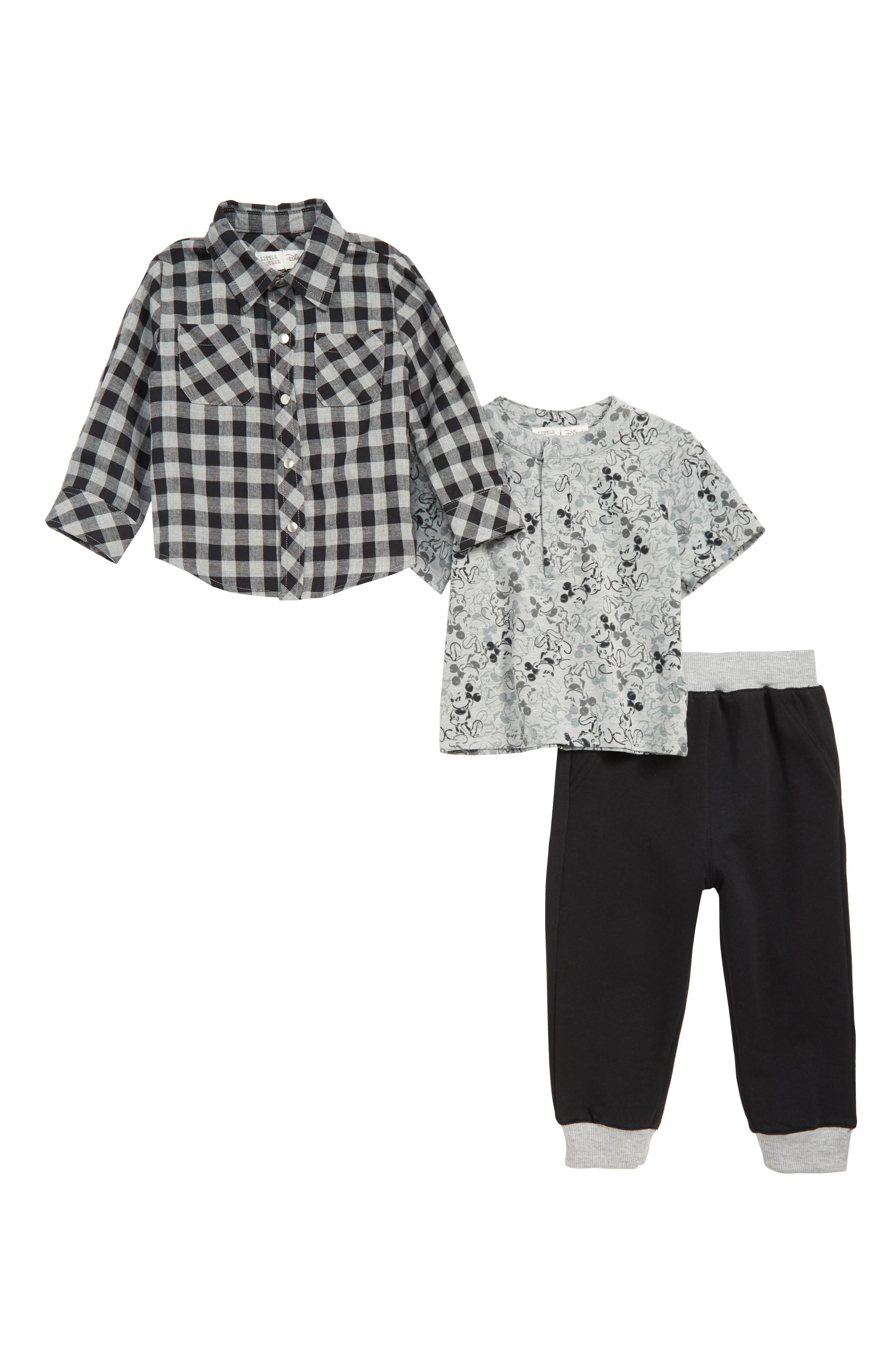 Image of Little Brother By Pippa & Julie x Disney Plaid Shirt, Mickey Mouse Henley & Sweatpants Set