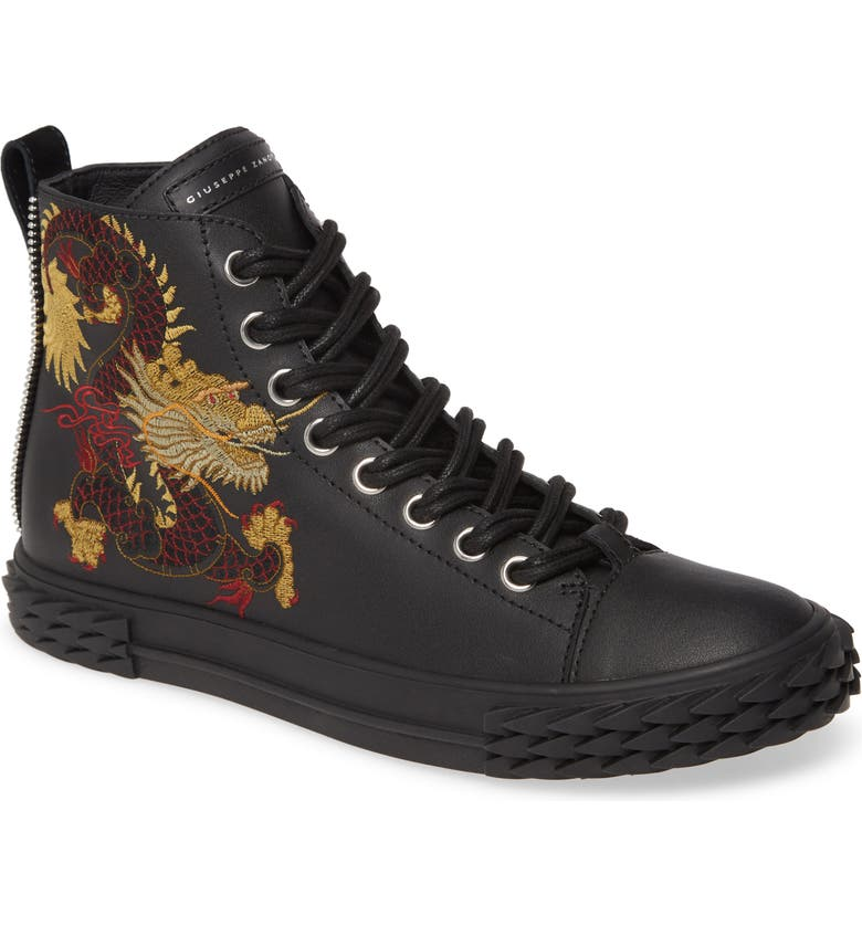 GIUSEPPE ZANOTTI Embroidered Dragon Sneaker, Main, color, NERO