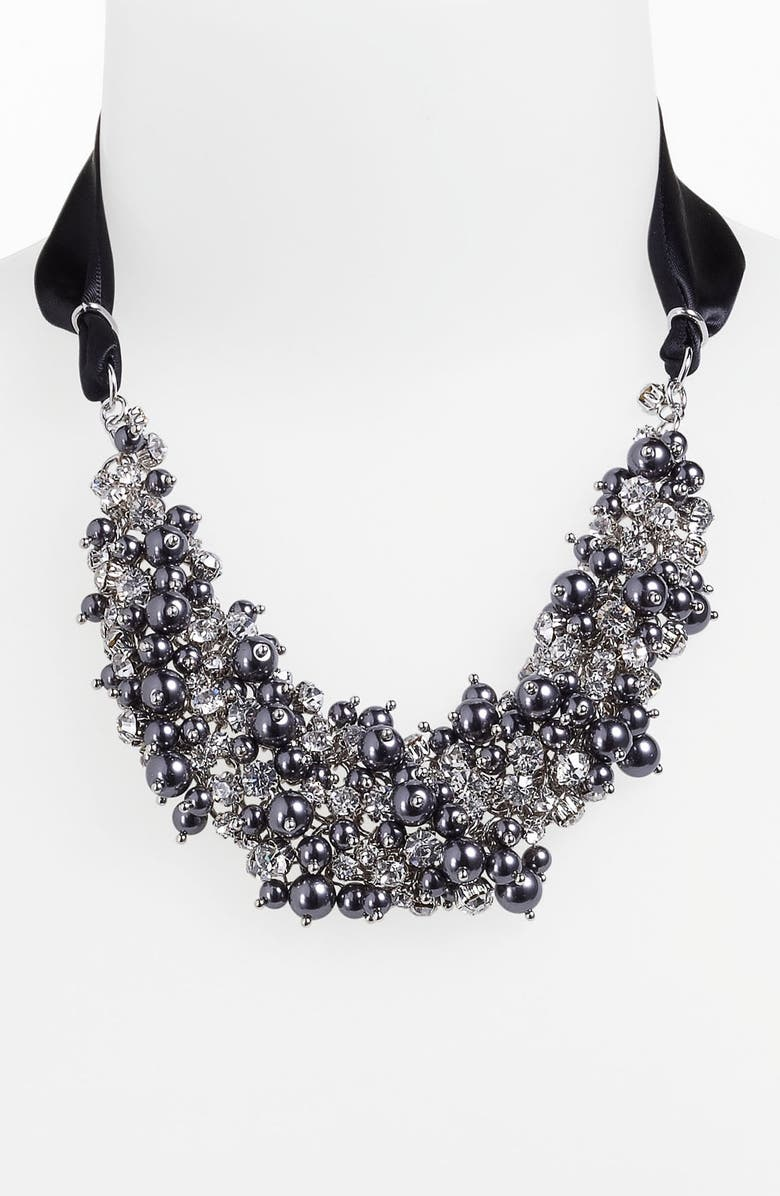 NINA 'Melaney' Ribbon & Cluster Bib Necklace, Main, color, 001