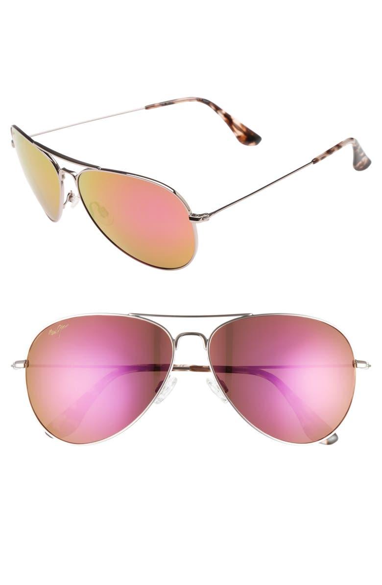 MAUI JIM Mavericks 61mm PolarizedPlus2<sup>®</sup> Aviator Sunglasses, Main, color, ROSE GOLD/ MAUI SUNRISE