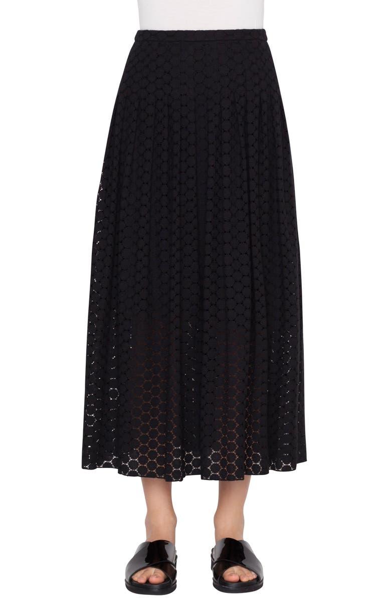 AKRIS PUNTO Mini Dot Midi Skirt, Main, color, 009