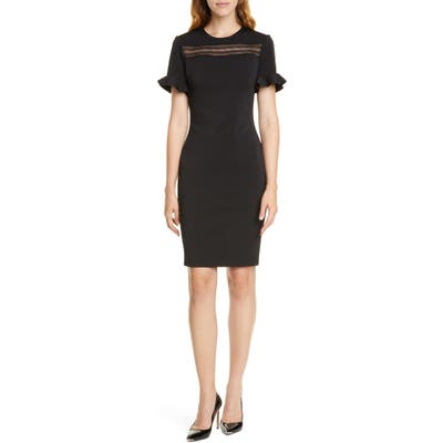 Ted Baker London Lace Inset Sheath Dress, (fits like 14 US) - Black