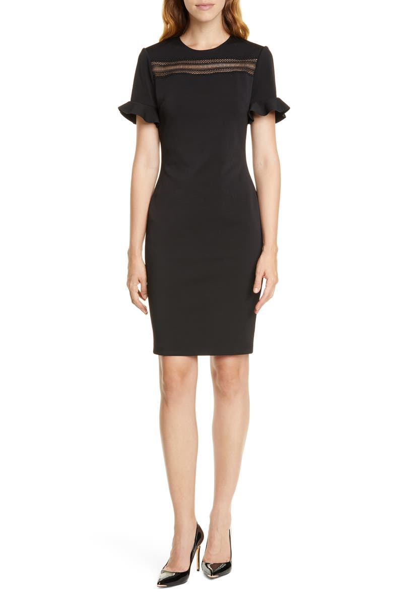 TED BAKER LONDON Lace Inset Sheath Dress, Main, color, 001