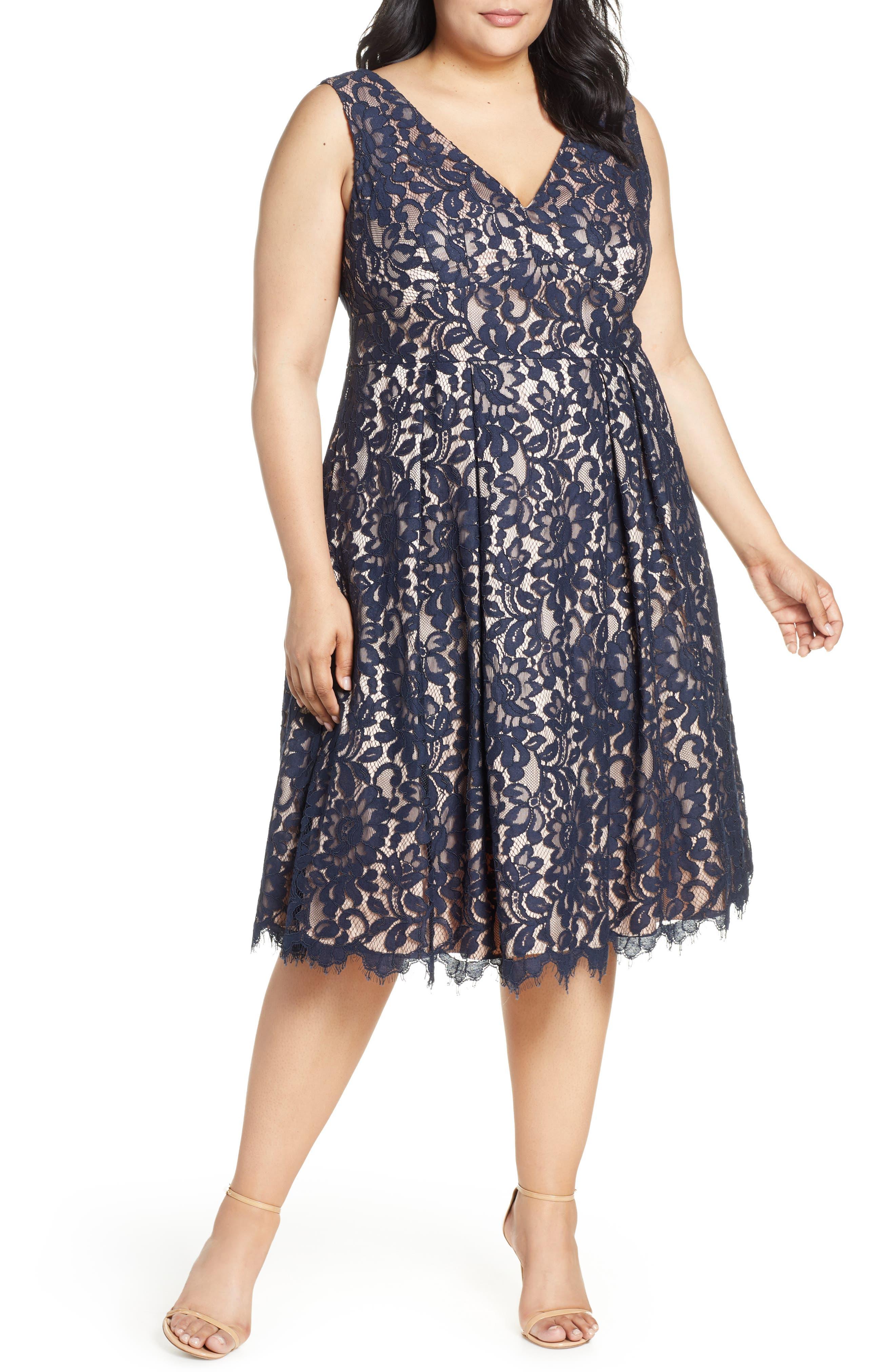 Plus Size Eliza J Lace V-Neck Party Dress, Blue