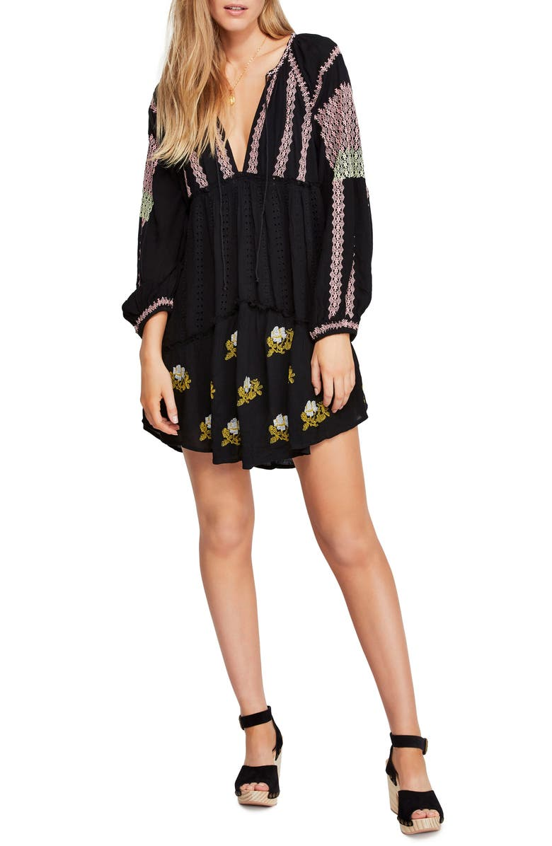 FREE PEOPLE Wild Horses Embroidered Long Sleeve Minidress, Main, color, 001