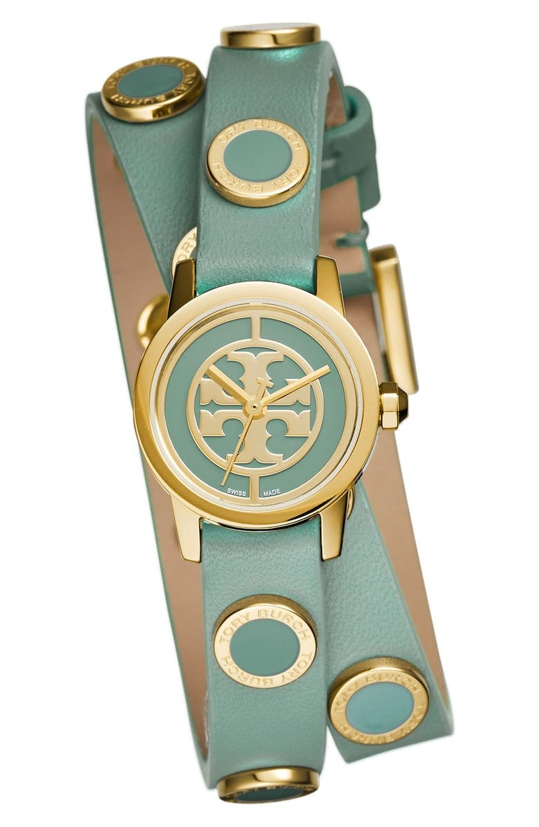 TORY BURCH 'Reva Mini' Logo Dial Double Wrap Leather Strap Watch, 21mm, Main, color, 300