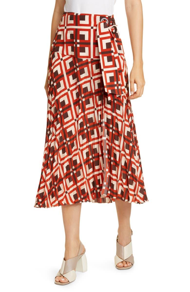 JOHANNA ORTIZ Lace-Up Crêpe de Chine Midi Wrap Skirt, Main, color, CHOCOLATE/ AFTER SALSA RED