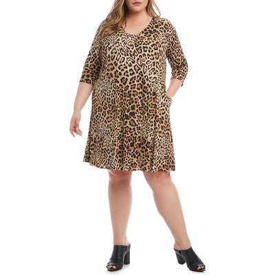 Plus Size Karen Kane Leopard Print A-Line Dress, Brown