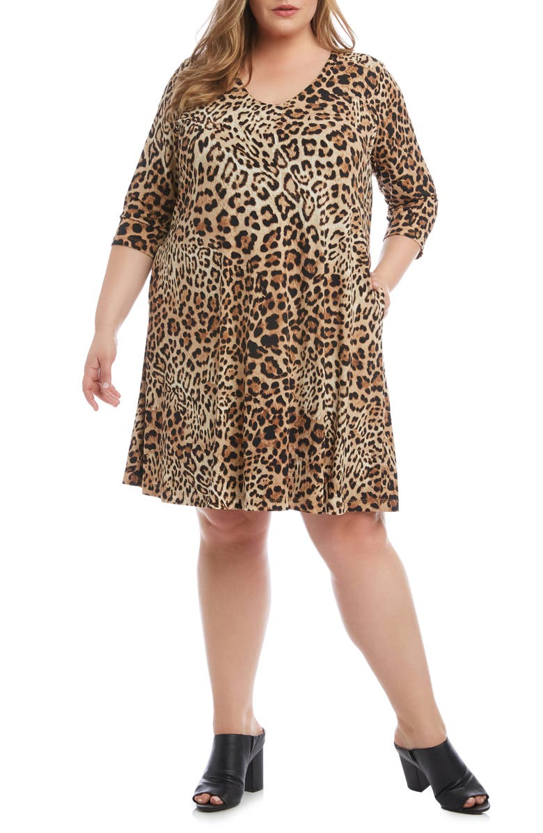 KAREN KANE Leopard Print A-Line Dress, Main, color, BROWN