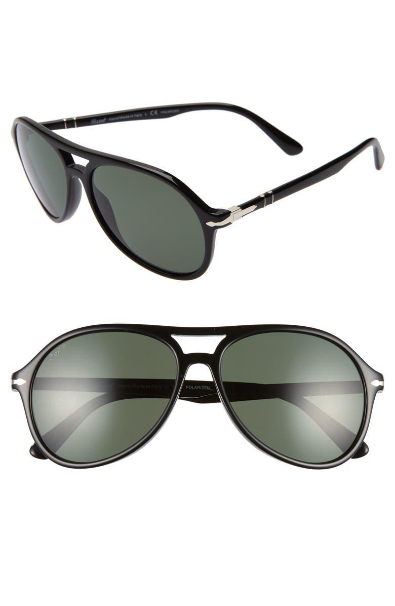 PERSOL 59mm Polarized Aviator Sunglasses, Main, color, BLACK SOLID