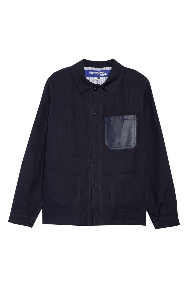 JUNYA WATANABE Leather Trim Linen Jacket, Main, color, NAVY