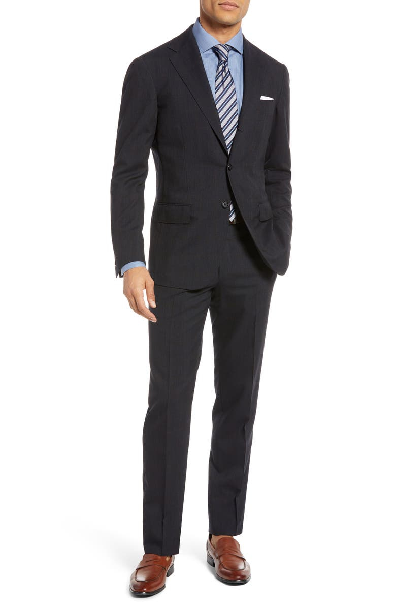 RING JACKET Trim Fit Windowpane Wool Suit, Main, color, NAVY