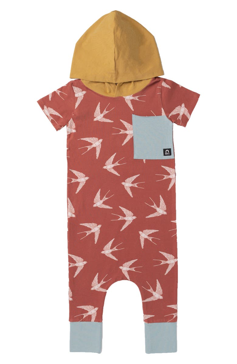 RAGS Bird Print Hooded Romper, Main, color, MAHOGANY BIRD
