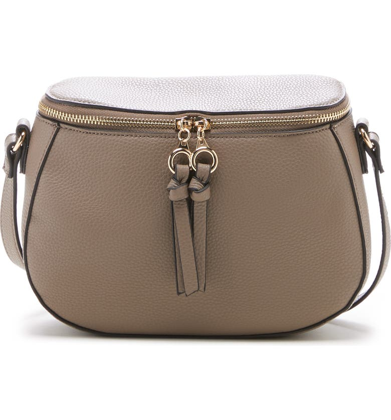 SOLE SOCIETY Deana Faux Leather Crossbody Bag, Main, color, TAUPE