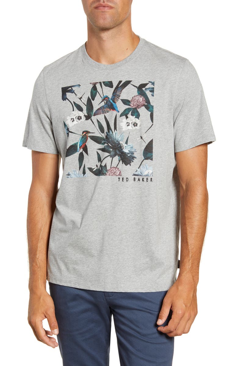 TED BAKER LONDON Slim Fit Graphic T-Shirt, Main, color, GREY MARL