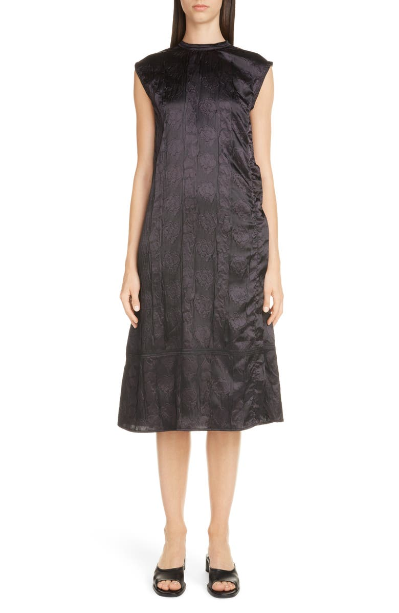 ACNE STUDIOS Darienne Shiny Embossed Midi Dress, Main, color, BLACK