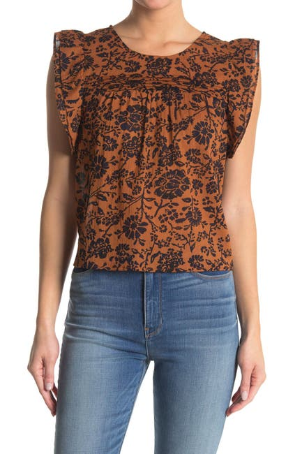 Image of BB Dakota Printed Ruffle Cap Sleeve Top