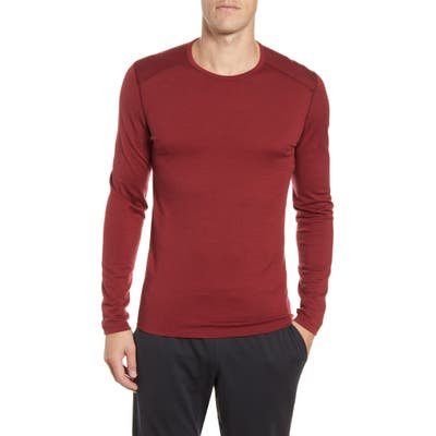 Icebreaker Oasis Long Sleeve Merino Wool Base Layer T-Shirt, Red