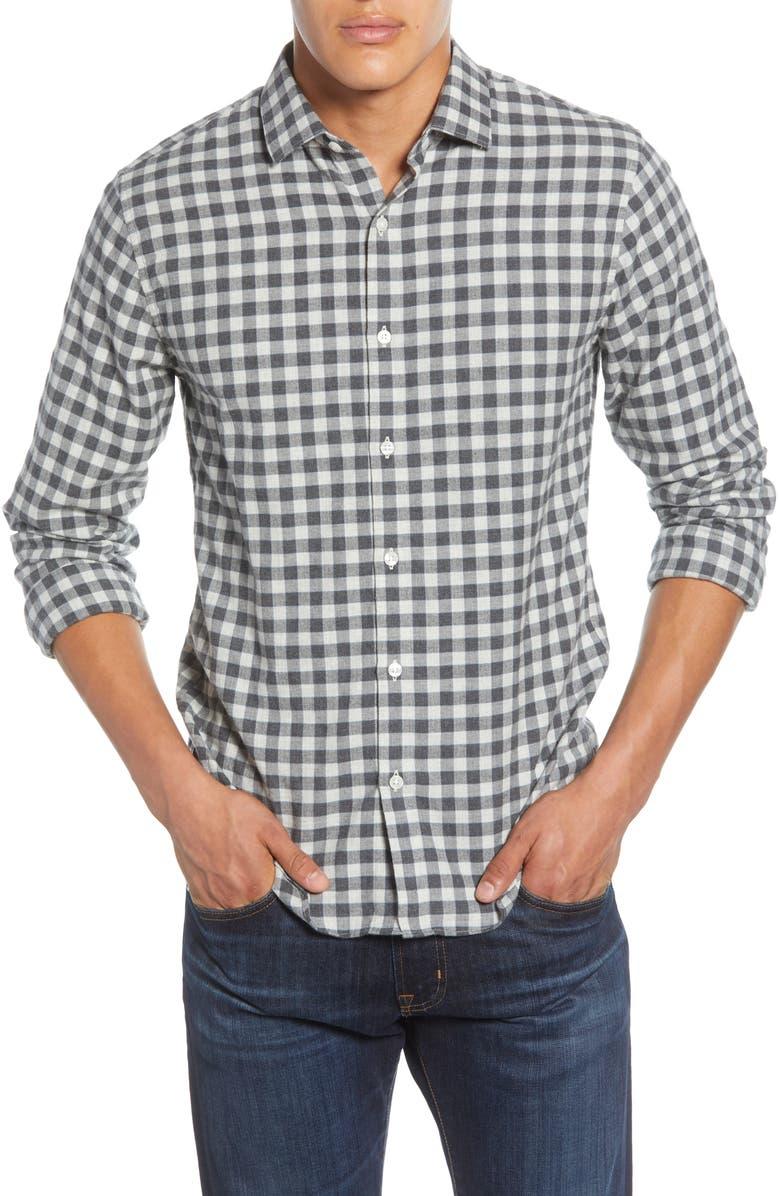 BONOBOS Slim Fit Check Button-Up Flannel Shirt, Main, color, CARLOS CHECK - DARK GREY