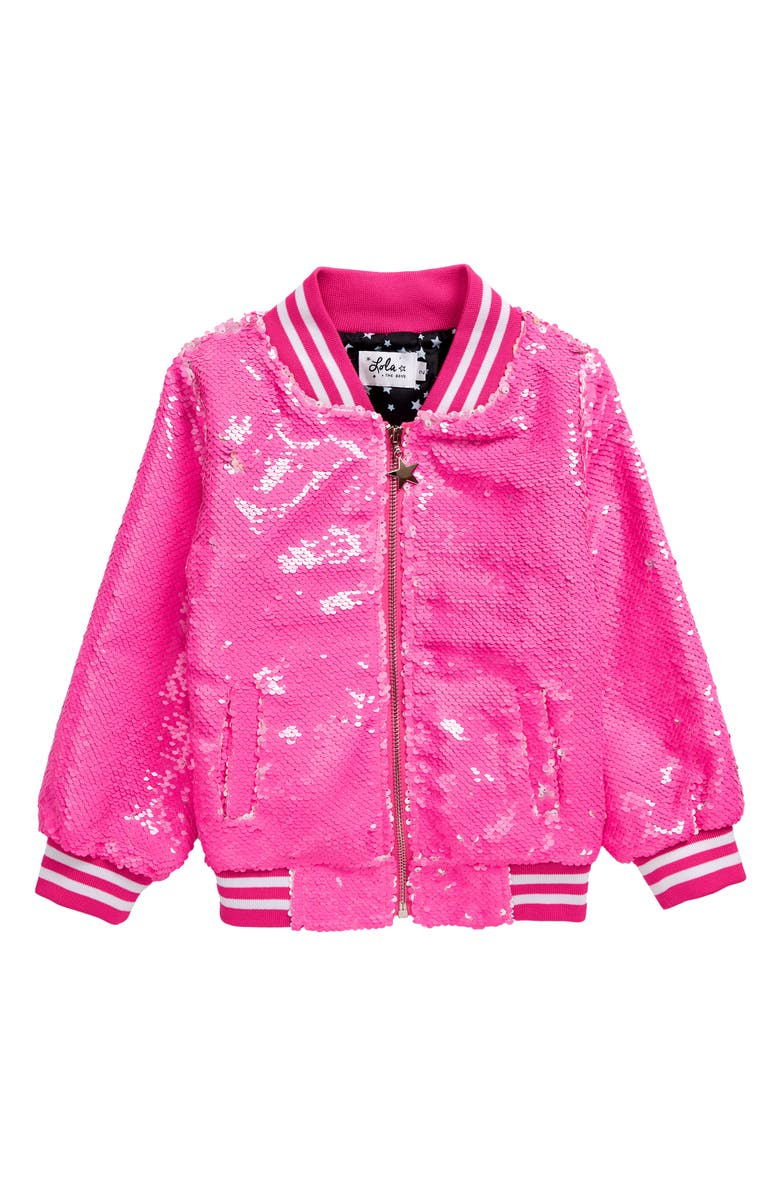 LOLA & THE BOYS Neon Pink Sequin Bomber Jacket, Main, color, 650