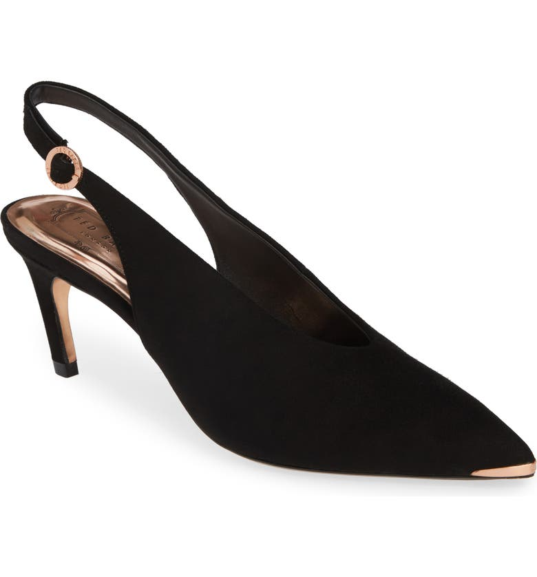 TED BAKER LONDON Hulia Slingback Pump, Main, color, BLACK SUEDE