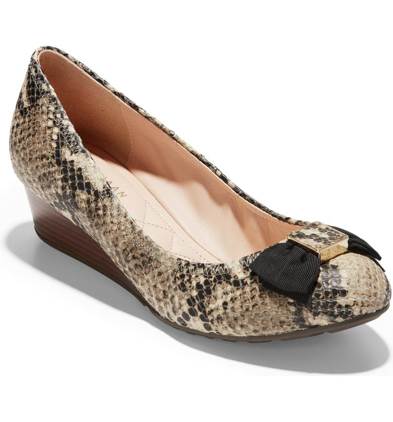 COLE HAAN Tali Soft Bow Pump, Main, color, SNAKE PRINT LEATHER