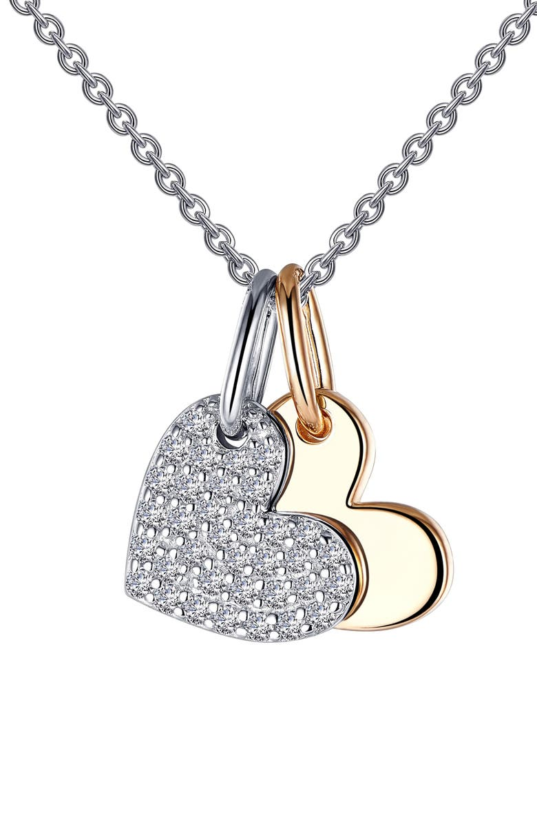 LAFONN Pavé Heart Shadow Charm Necklace, Main, color, SILVER/GOLD/CLEAR