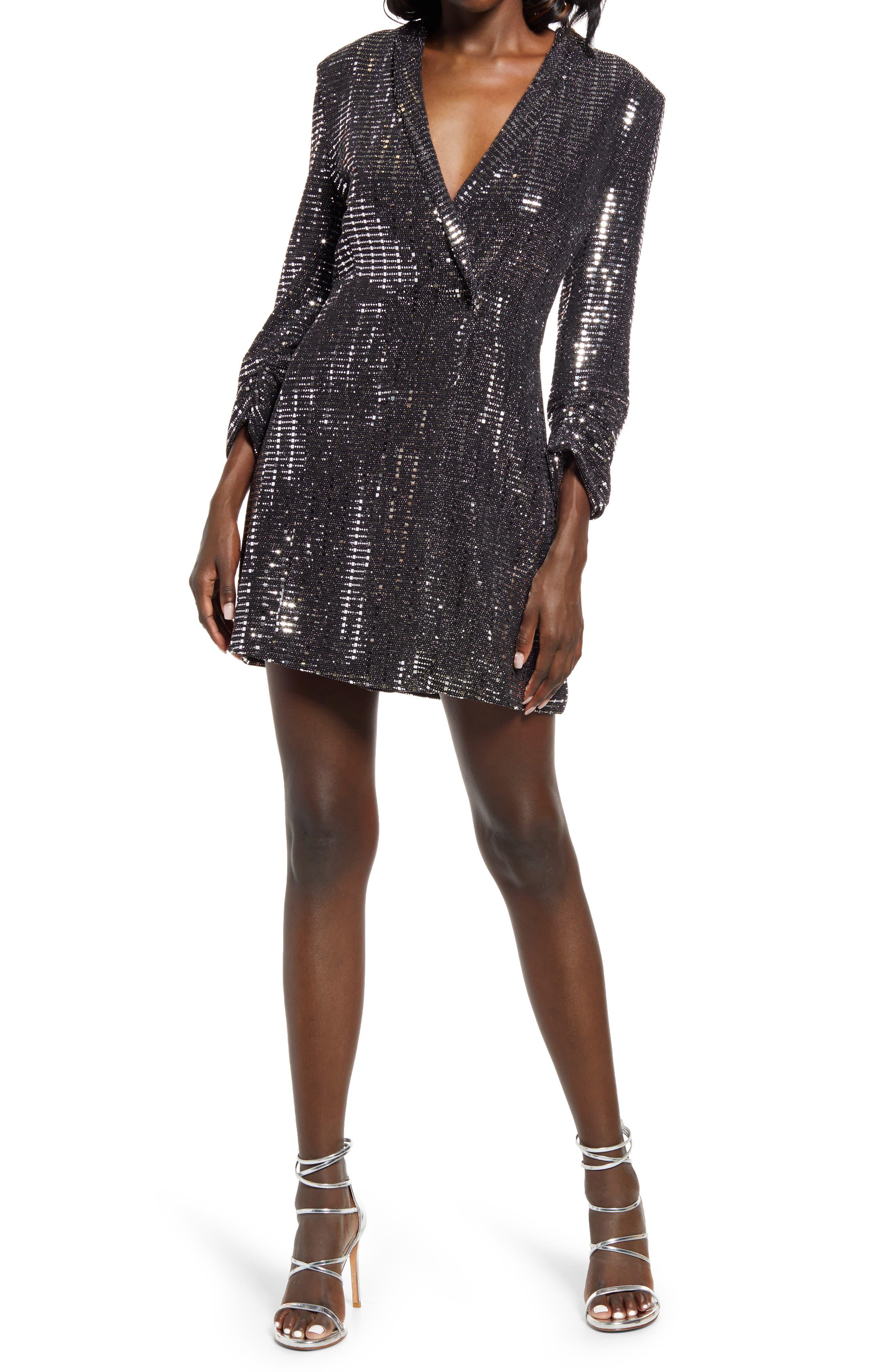 Glowing Steady Metallic Blazer Dress