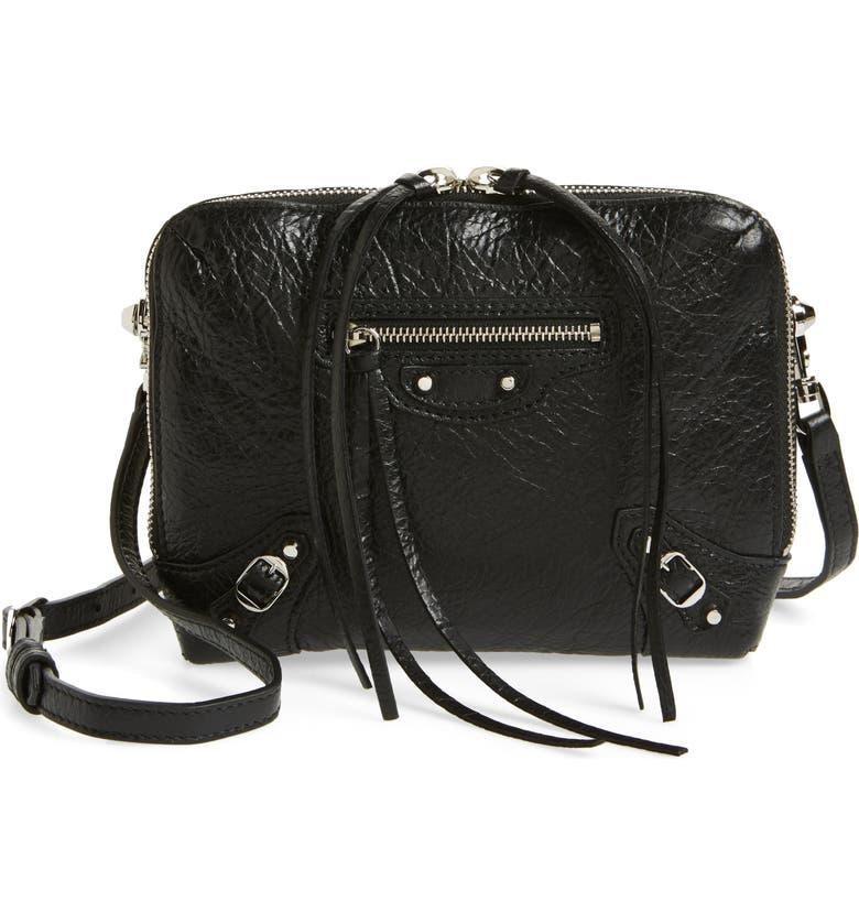 BALENCIAGA Extra Small Classic Reporter Leather Shoulder Bag, Main, color, 001