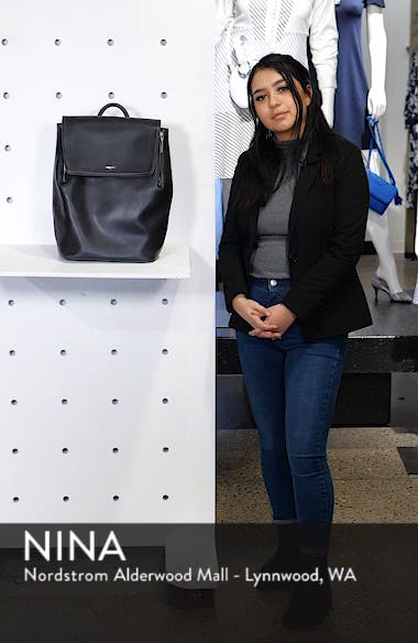 'Fabi' Faux Leather Laptop Backpack, sales video thumbnail