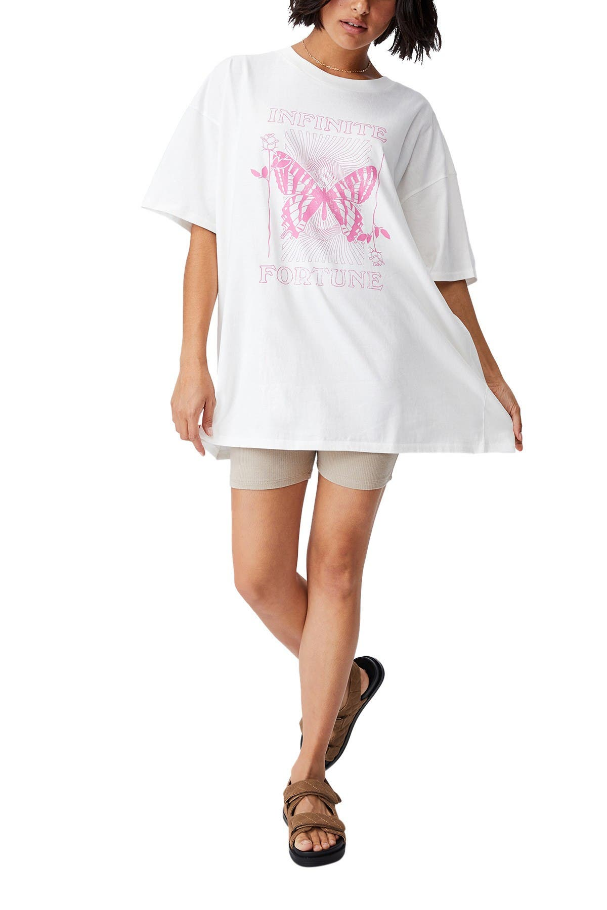 Image of Cotton On Oversized Graphic T-Shirt Dress