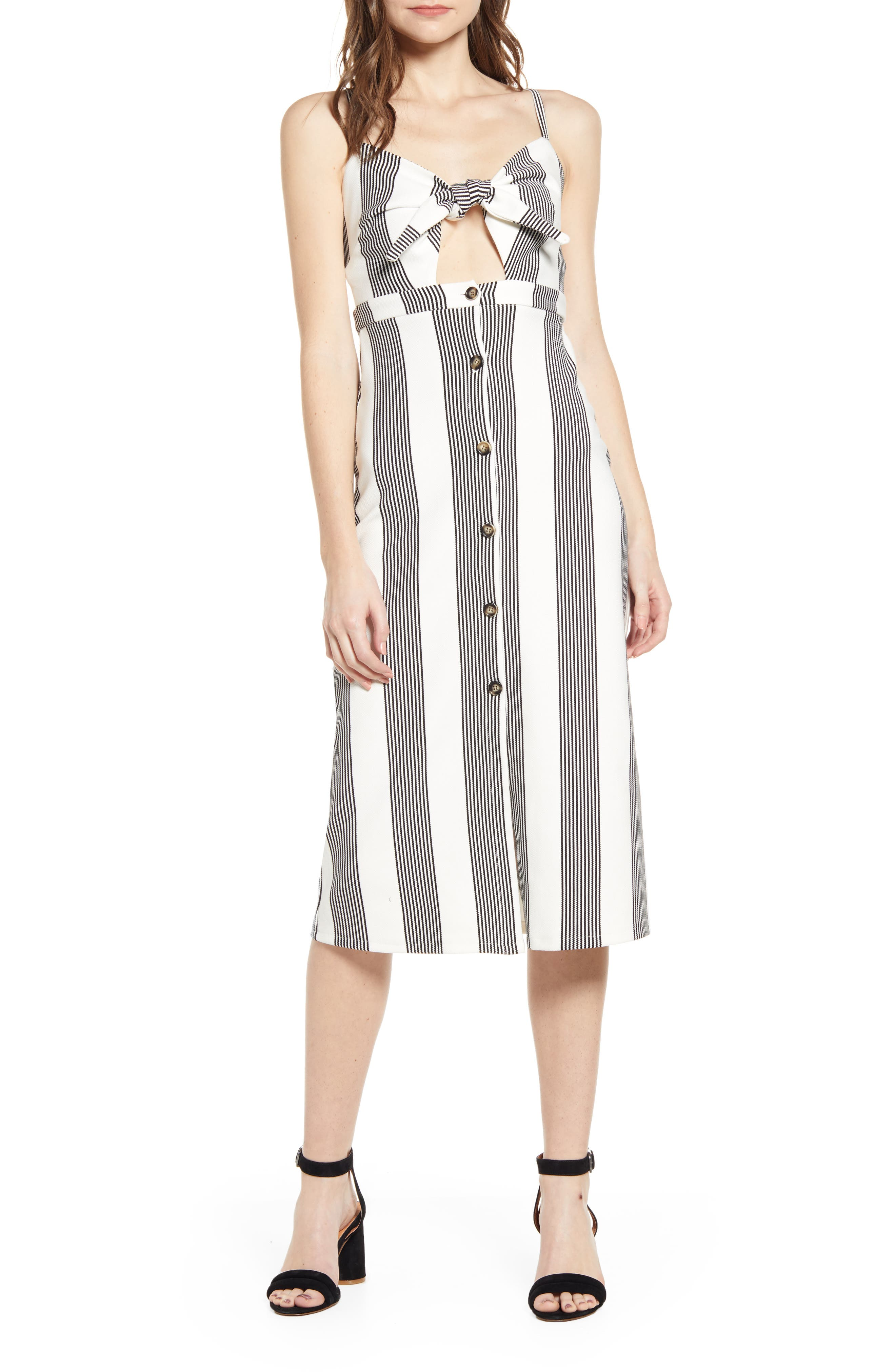 Bishop + Young Stripe Tie Front Sundress, White