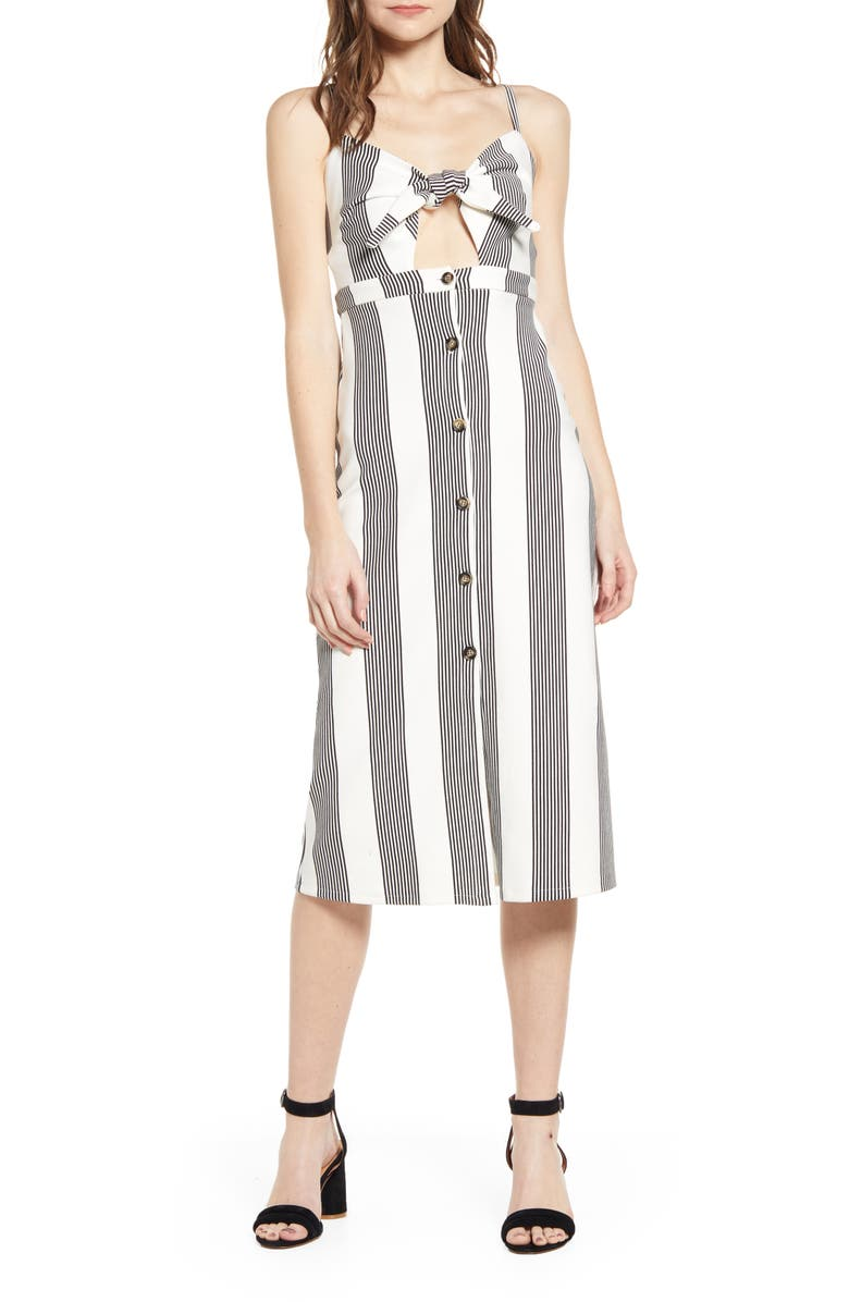 BISHOP + YOUNG Stripe Tie Front Sundress, Main, color, BLUE WHITE STRIPE